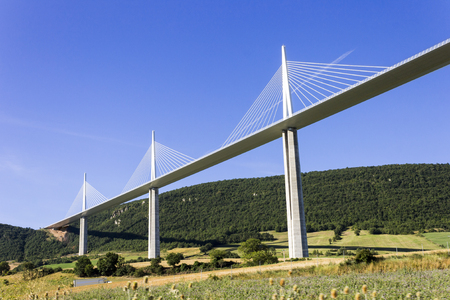 The Millau Viaduct, a cable stayed bridge that spans the valley of the River Tarn near Millau in southern France. Tallest bridge in the world with one mast's summit at 343 m Editoriali