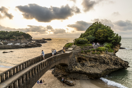Biarritz, France. The Rocher du Basta, a scenic rock and major landmark in the coast of Biarritz, at sunset