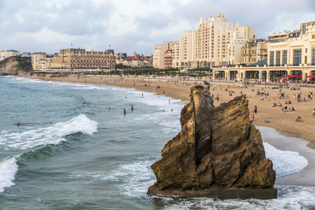 Biarritz, France. Views of the Grande Plage (Great Beach), a major tourist destination in Aquitaine Stock Photo