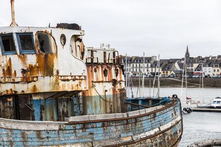 Camaret-sur-Mer, France. The old boat cemetery (Cimetiere de bateaux) at Le Sillon Stock Photo
