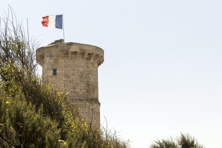 Saint-Clement-des-Baleines, France. The old lighthouse Phare des Baleines, one of the lighthouses of the Ile de Re island in the Bay of Biscay