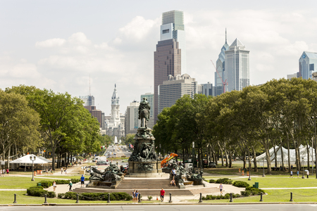 Philadelphia, Pennsylvania. Views of Benjamin Franklin Parkway, City Hall, Eakins Oval, Washington Monument and skyline from the Philadelphia Museum of Art