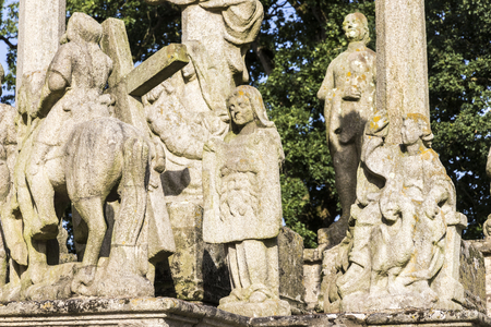 Guehenno, France. The Calvary of Guehenno, dating from 1550, one of the seven great calvaries (enclos paroissial) of Brittany (Bretagne) 写真素材