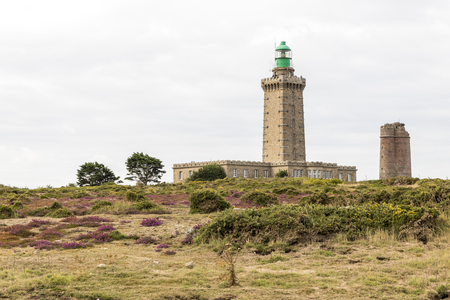 Frehel, France. The old and new lighthouse of Cap Frehel, a a headland in the Northern coast of Brittany (Bretagne) Stock Photo