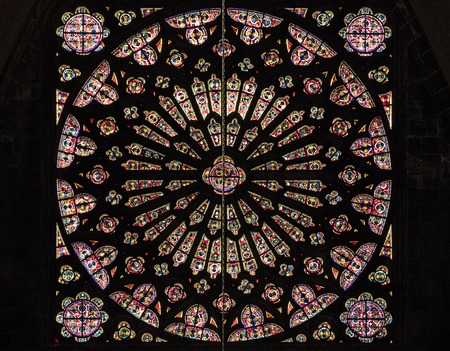 Clermont-Ferrand, France. Rose Window of the Cathedral of Our Lady of the Assumption