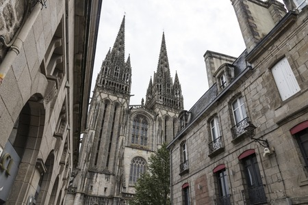 Quimper, France. Views of the two towers of the Gothic Cathedral of Saint Corentin, a Roman Catholic cathedral and national monument of Brittany