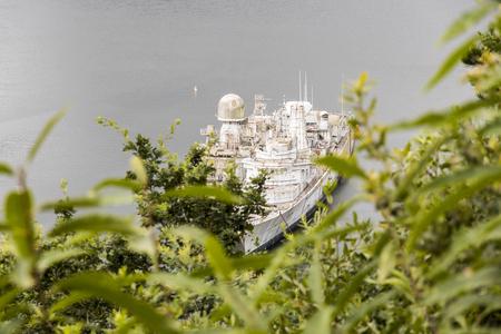 Landevennec, France. Two army boats at the Ship graveyard (cimetiere de bateaux) close to the Ile de Terenez island