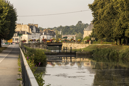 Pontivy, France. Views of the river Blavet, with the Nantes Brest Canal, on a beautiful summer morning