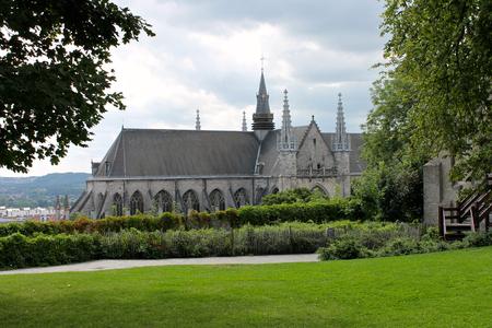 Mons, Belgium. The Saint Waltrude Collegiate Church (Collegiale Sainte-Waudru), a major Bravantine Gothic landmark and most important church in the Belgian city of Mons Stock Photo
