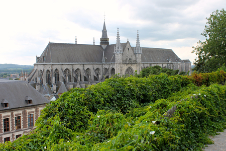 Mons, Belgium. The Saint Waltrude Collegiate Church (Collegiale Sainte-Waudru), a major Bravantine Gothic landmark and most important church in the Belgian city of Mons 스톡 콘텐츠
