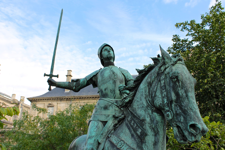 Reims, France. Equestrian statue of Joan of Arc (Jeanne d'Arc), made by Paul Dubois and placed in front of the Cathedral of Our Lady Reklamní fotografie