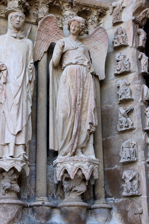Reims, France. The Smiling Angel (lAnge au Sourire), a famous sculpture of the Cathedral of Our Lady (Cathedrale Notre Dame)