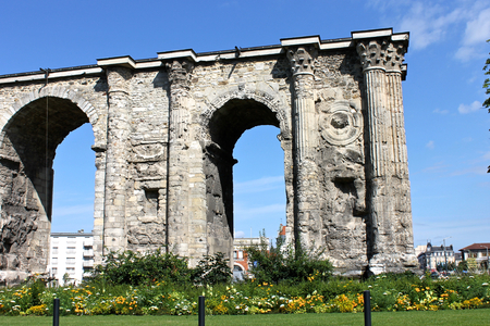 Reims, France. The Porte de Mars, an ancient Roman triumphal arch that dates from the third century AD
