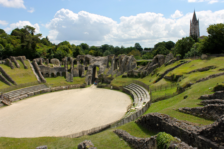 Saintes, France. The Gallo-Roman Amphitheatre of Mediolanum Santonum, a major antiquity landmark and monument in the modern day city of Saintes