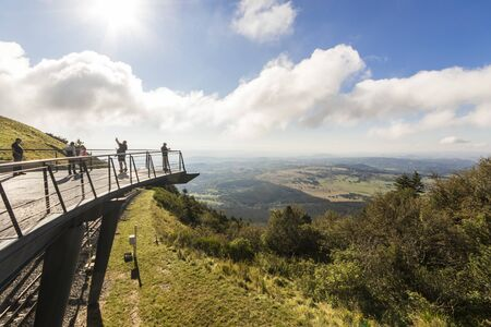 Views from a lookout at the Puy de Dome, a lava dome volcano in the Chaine des Puys region of Massif Central in central France Editorial