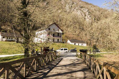Asturias, Spain. Entrance of the Muniellos Nature Reserve (Reserva natural integral) at Tablizas
