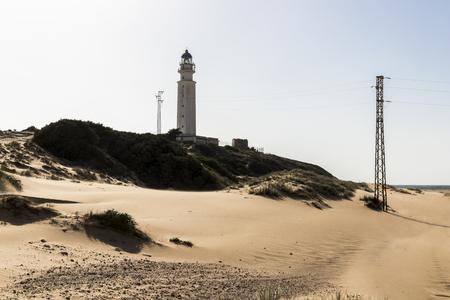 Barbate, Spain. The lighthouse at Cape Trafalgar, a headland in the Province of Cadiz in the south-west of Andalucia