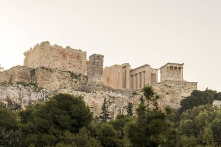 Athens, Greece. The Propylaea, the monumental gateway that serves as the entrance to the Acropolis in Athens
