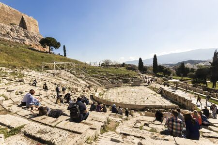 Athens, Greece. The Theatre of Dionysus Eleuthereus, a major theatre considered the world's first theater built at the foot of the Athenian Acropolis