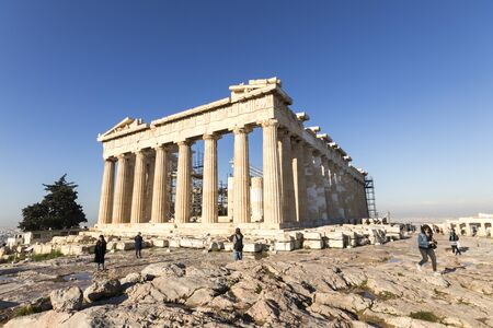Athens, Greece. The Parthenon, a former temple on the Athenian Acropolis dedicated to the goddess Athena Banque d'images - 132894033