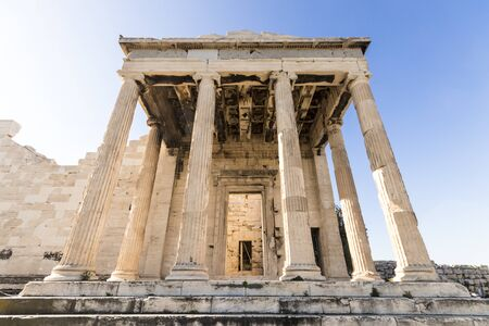 Athens, Greece. The Erechtheion, an ancient Greek temple on north side of the Acropolis dedicated to Athena and Poseidon