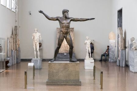 Athens, Greece. The Cape Artemision Bronze or God from the Sea, a major highlight in Athens Archaeological Museum 에디토리얼