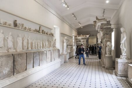 Epidaurus, Greece. Inside the Archaeological Museum of Epidaurus, noted for its reconstructions of temples and its columns and inscriptions