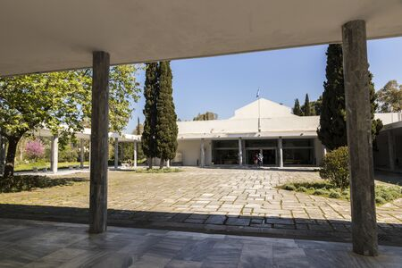 Olympia, Greece. Main facade of the Archaeological Museum of Olympia 스톡 콘텐츠 - 132885141