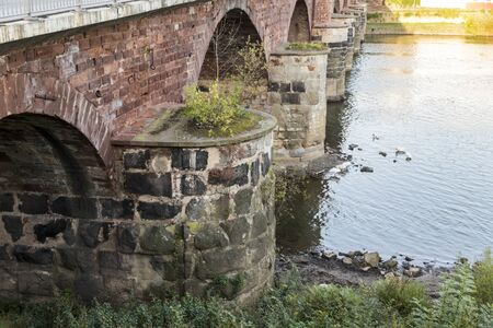 Trier, Germany. The Romerbrucke (Roman Bridge), an ancient bridge over the Moselle from the Roman Empire. Oldest standing bridge in Germany