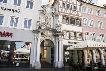 Trier, Germany. Entrance to St. Gangolfs church, a Roman catholic church dedicated to St. Gangulphus and second oldest church building in the city Editöryel