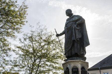 Trier, Germany. The Baldwin Fountain (Balduinbrunnen), a monument dedicated to Balduin von Luxemburg, Archbishop-Elector of Trier Stok Fotoğraf