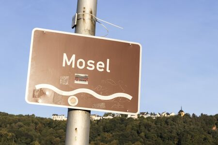 Trier, Germany. Sign of the he Moselle (Mosel) river, with the Mariensaule (Saint Marys column) on top of the hill Editöryel