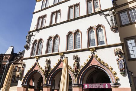 Trier, Germany. Historic buildings of the Market Square (Marktplatz) in the Old Town (Altstadt)
