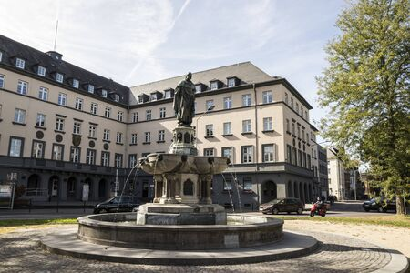 Trier, Germany. The Baldwin Fountain (Balduinbrunnen), a monument dedicated to Balduin von Luxemburg, Archbishop-Elector of Trier 에디토리얼
