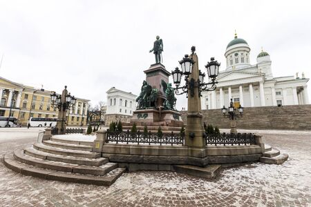 Monument to Alexander II of Russia, The Liberator, sculpted by Walter Runeberg, at the Senate Square in Helsinki, the capital of Finland Editöryel