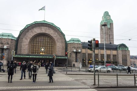 Helsinki Central Station (Helsingin paarautatieasema), main station for commuter rail and long-distance trains departing from Helsinki, Finland