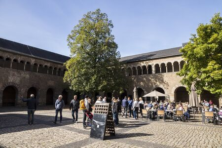 Trier, Germany. The inner courtyard of Simeonstift (St. Simeons Collegiate Church), a former abbey now the City Museum