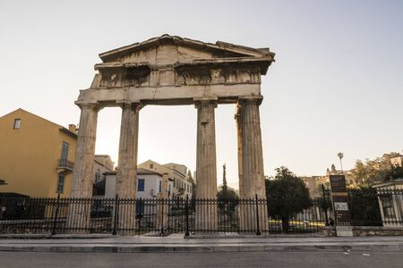 Athens, Greece. The Gate of Athena Archegetis, situated west side of the Roman Agora 스톡 콘텐츠 - 132983625