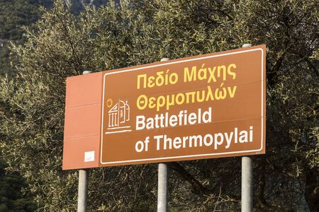 Thermopylae, Greece. Memorial monument to King of Sparta Leonidas, the 300 Spartan and the 700 Thespians who fought at the Battle of Thermopylae Editöryel