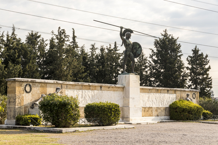 Thermopylae, Greece. Memorial monument to King of Sparta Leonidas, the 300 Spartan and the 700 Thespians who fought at the Battle of Thermopylae Redakční