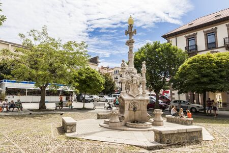 Comillas, Spain. The Fuente de los Tres Canos (Fountain of the Three Pipes), a modernist monument by Lluis Domenech i Montaner