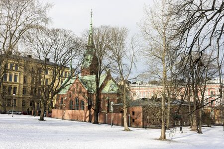 Helsinki, Finland. The German Church of Helsinki (Saksalainen kirkko) in a cold winter day, covered in ice and snow