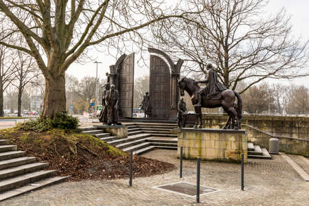 Hannover, Germany. The Denkmal der Gottinger Sieben (Monument to the Gottingen Seven), a sculpture complex dedicated to seven university professors
