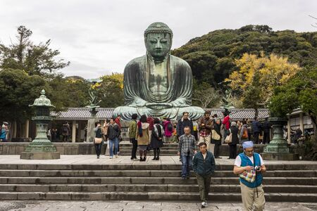 Kamakura, Japan. Views of the Great Buddha (Daibutsu), large bronze statue representing Amida Buddha (Amitabha) in Kotoku-in Buddhist temple Editorial