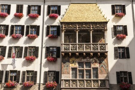 The Goldenes Dachl (Golden Roof), a landmark structure located in the Old Town (Altstadt) section of Innsbruck, Tyrol, Austria, and the city's symbol