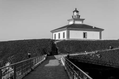 Ribadeo, Spain. The lighthouse at Illa Pancha, an island in the coast of Galicia