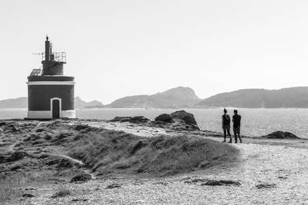 Cangas, Spain. The Faro de Punta Robaleira (Point Robaleira Lighthouse), in Galicia