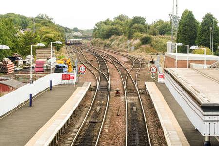 Edinburgh, Scotland. The Dalmeny railway station in South Queensferry, close to the Forth Rail Bridge