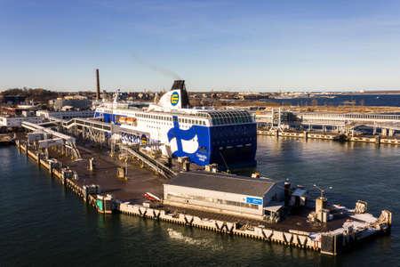 Tallinn, Estonia. The MS Finlandia, a cruiseferry of Finnish ferry operator Eckero Line that operates between Tallinn and Helsinki, in Port of Tallinn Editorial