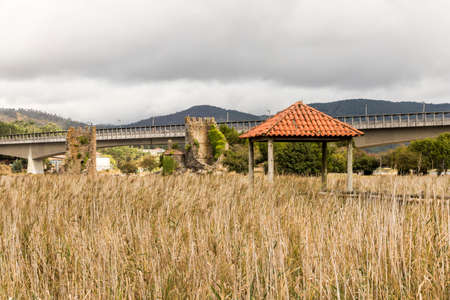 Catoira, Spain. The Torres de Oeste (West Towers), a walled complex of ruined in Galicia surrounded by marshes